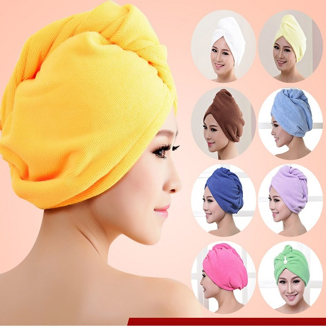 Fashion Women Absorbent Microfiber Towel Turban Hair-Drying Shower Caps Ponytail Holder Bathing Cap Bathrobe Hat 10 Colors