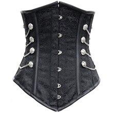 Gothic Steampunk Corset Black Jacquard spiral steel Boned Lingerie Club wear waist trainer Bustier cosplay