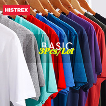 HISTREX  3Pcs/Lot 100% USA Cotton Basic Blank T-shirt For Men