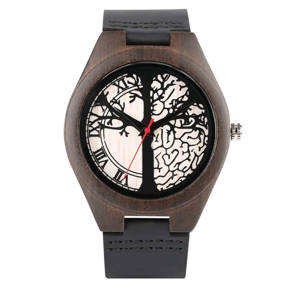 Engraved Tree Pattern Wooden Watch Lover's Watch Leather Strap Brown Wood Watches,  Ideas Wood Wristwatch For  Men Women Gift
