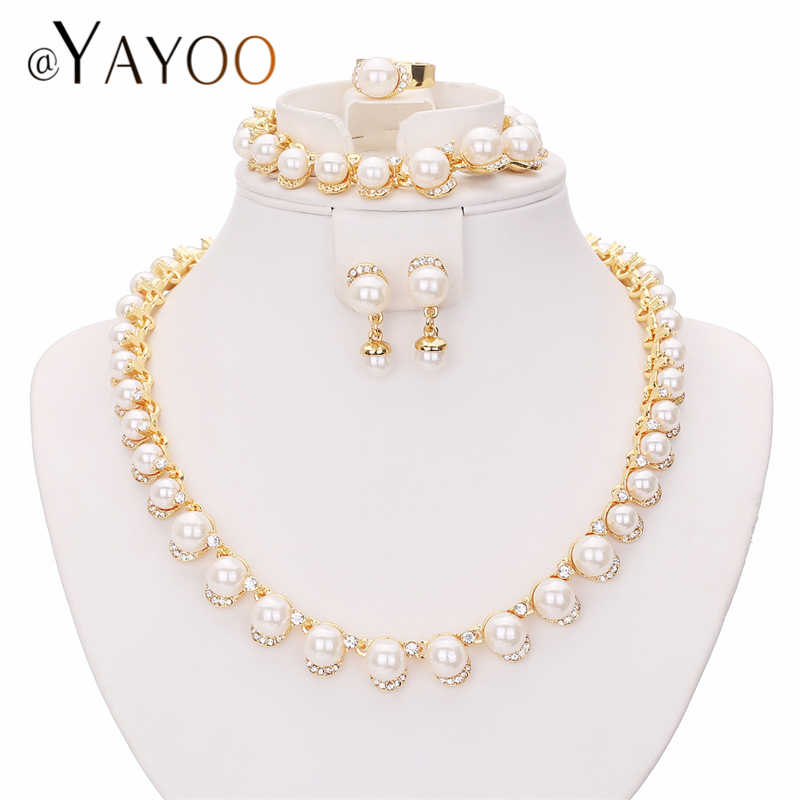AYAYOO Bridal Jewelry Sets Simulated Pearl Fashion Jewellery Sets For Women Wedding African Beads Jewelry Set Party Accessories