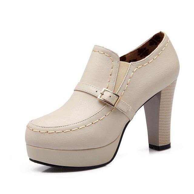 Moda Punta Redonda Slip-on Profunda Boca Tacones Altos Zapatos de Las Señoras Ocasionales de la Plataforma de las Bombas de Tamaño 34-43 mujer Otoño Invierno Bombas