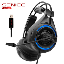 цена на SENICC A6 USB LED Noise Cancelling Headphone Leather Earmuffs Gaming Headset Gamer Headphones with Mic For Computer PUBG LOL CS