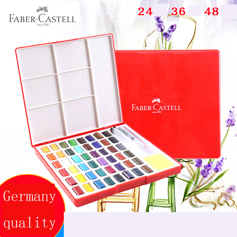 Faber Castell 24/36/48Color Solid Watercolor Paint Box With Paintbrush Bright Color Portable Watercolor Pigment Art Supplies    -