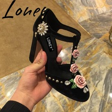Loney New Genuine Leather Mary Janes T-strap Women Pumps Floral Crystal Deco Buckle Strap Women HIgh Heels Summer Pumps Shoes цена 2017