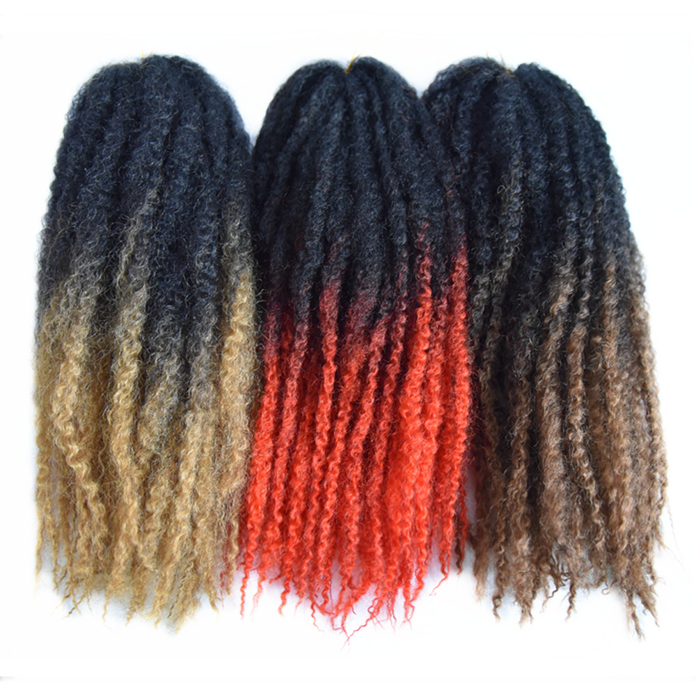 Feilimei Ombre Afro Kinky Twist Braiding Hair Extensions 18Inch 100g 6 pcs/set Synthetic Ombre Black Brown Purple Crochet Hair