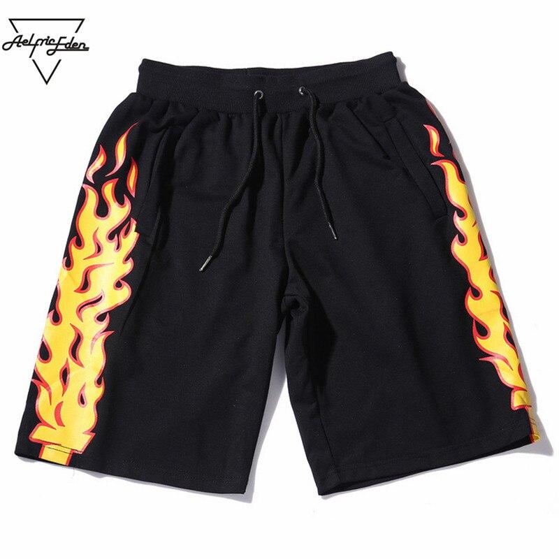 Aelfric Eden Feu Flammes Imprimé Sweat Shorts Hommes D'été Coton Casual Cordon Shorts Hommes Hip Hop Joggeurs pantalons de Survêtement OF001