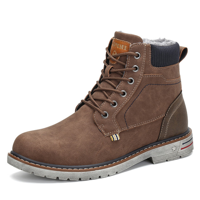 0d262548293 US $32.87 |Fashion Winter Shoes Men Military Boots Outdoor Warm Snow Boots  Ankle Flat Boots Anti skid Safety Shoes Zapatos De Hombre-in Snow Boots ...