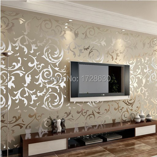 Gold silver cream flock velvet victorian damask for Black white damask wallpaper mural