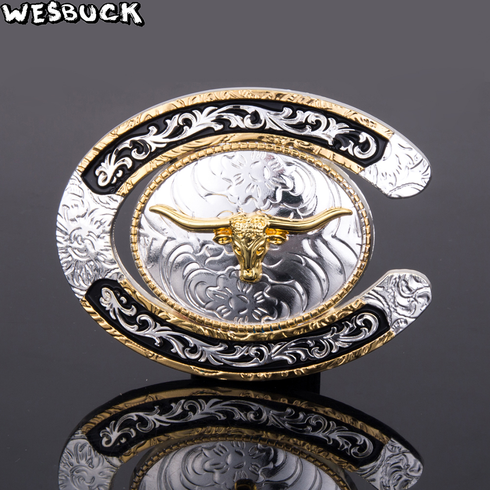 5Pcs MOQ Horseshoes WesBuck Brand Belt Buckles Metal for Man Women Gold Western Buckles Metal Cowboy