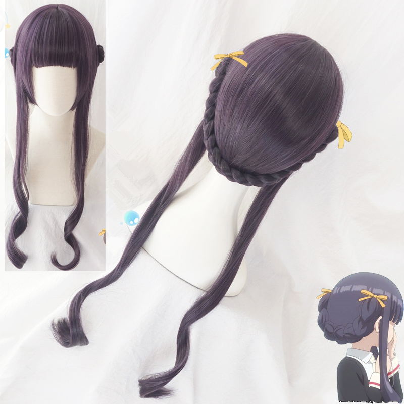 Card Captor Sakura CLEAR CARD Tomoyo Daidouji Cosplay Wig Updo Braid Wavy Synthetic Hair for Adult