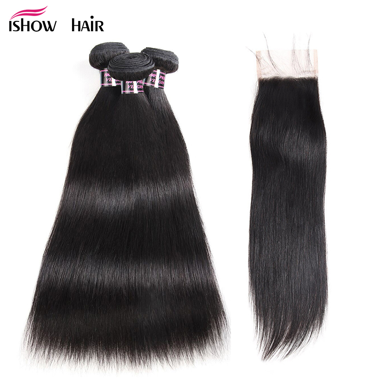 Ishow Malaysian Straight Hair Bundles with Closure 100 Human Hair Bundles With Closure 3 Bundles Non