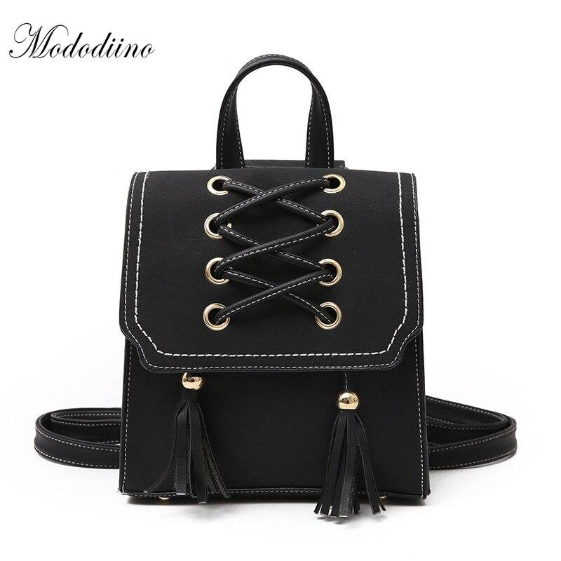 Mododiino Vintage PU Leather Backpack Women Bag Tassel School Bags For Teenage Girls Mini Backpack Women Travel Backpack DNV0634