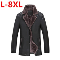 new large size 8XL 7XL 6XL Winter Men's Genuine Leather Jackets Brand Brown Sheepskin Jacket and Coats with Fur Wool Collar Warm