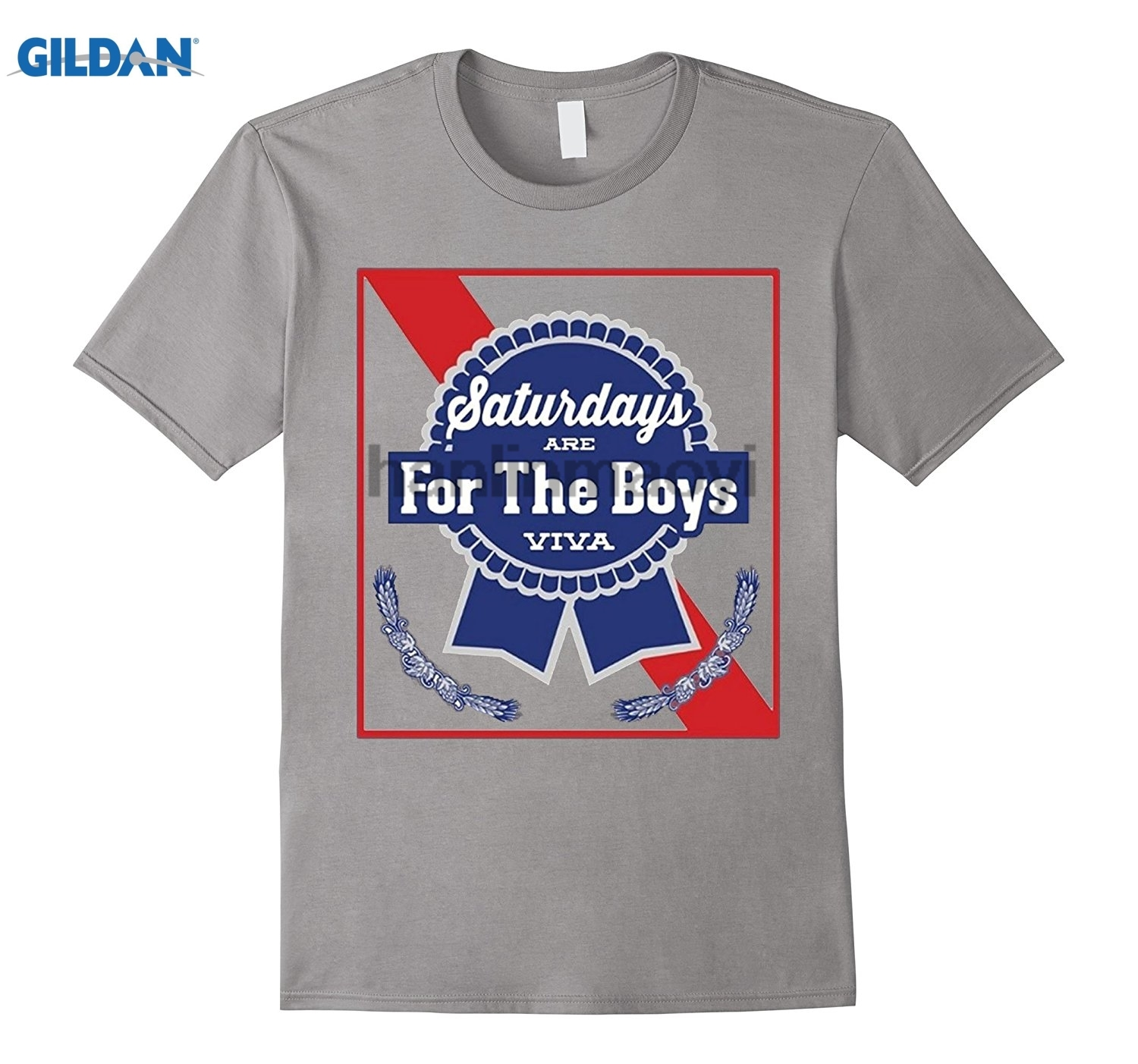 GILDAN Saturdays Are For The Boys TShirt Blue Beer Ribbon Label Can