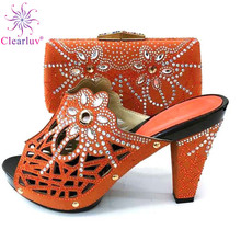 Fashion Italian Shoes With Matching Bags African High Heel Women Shoes and Bags Set For Prom Party