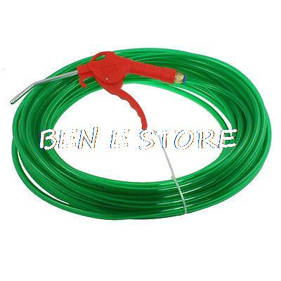 5mm x 8mm x 2m Polyurethane Tube Pneumatic PU Hose Clear Green w Air Blow Gun 16mm x 100mm single rod pneumatic cylinder w clear 6mmx4mm pu tube