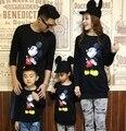 Familia Tops de algodón nueva familia hombre mujer de dibujos animados de Mickey manga larga T shirt negro
