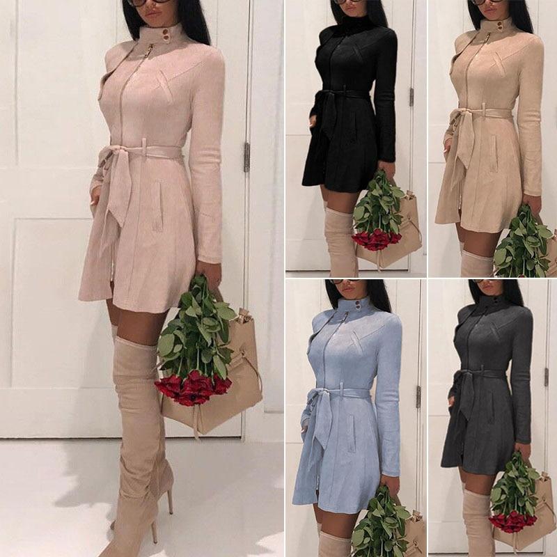 Autumn Women's Casual Sash Suede Trench Coat Casual Leather Pocket Long Women Autumn Coat Winter Warm Outwear Overcoat Female