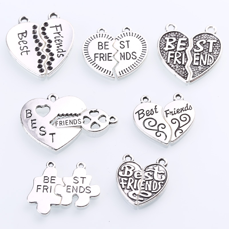 Vintage Silver Zinc Alloy Cameo Letters Best Friend Charms Diy Jewelry Alphabet Best Friend Pendant Charms 7set/lot C8904 circle