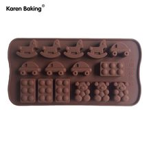 Lego Bear Horse and Car Type Muffin Sweet Candy Jelly Fondant Cake Chocolate Mold Silicone Tool Baking Pan- B176(China)