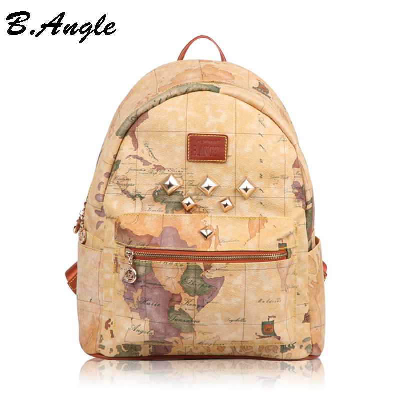 ФОТО New fashion high quality world map women backpack Rivet men backpack casual travel backpack special school backpack