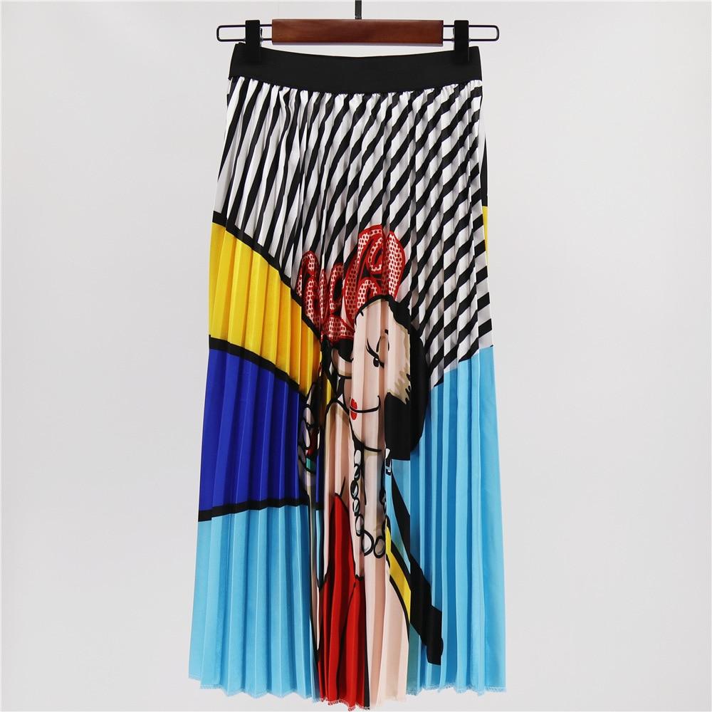 Digital Printing High-waist Summer Skirt For Women Fashion Long Pleated Skirts For Women Plus Size Skirts Midi Skirt Female