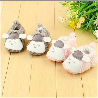 Winter Thickened Non-slip Warm Baby Toddler Shoes,Cute Lamb Shape Plush Velvet Anti-out Homemade Soft bottom Slippers For Kids