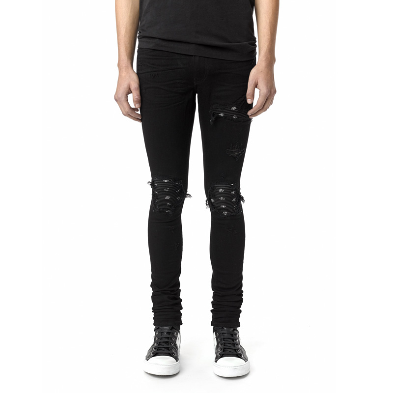 High Street Fashion Mens Jeans Black Color Slim Fit Hip Hop Ripped Jeans Stretch Embroidery Patch Pants Brand Biker Jeans Homme