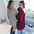 Long Sweater Dress Women Pullover Casual Loose Pull Femme Red Grey Gilet Femme Manche Longue Ladies Jumper Autumn TX4560