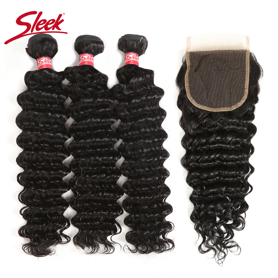 Sleek Peruvian Deep Wave Bundles With Closure 4 Pcs Natural Color Hair Weave Non Remy Human Hair 3 Bundles With Closure