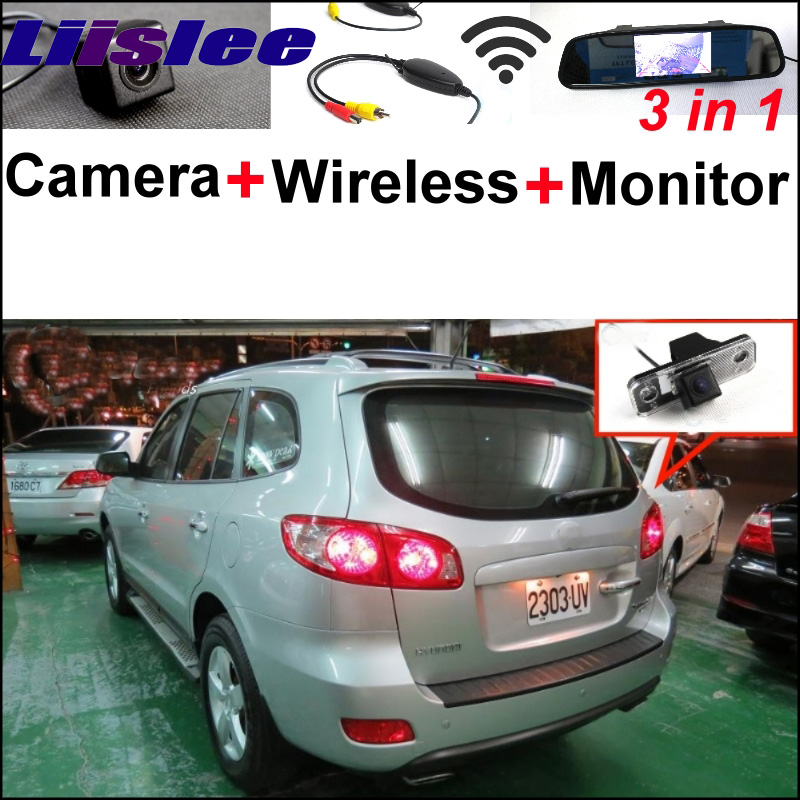Liislee 3 in1 Special Camera + Wireless Receiver + Mirror Monitor Easy DIY Back Up Parking System For Hyundai Santa Fe 2000~2012 special rear view camera 3 in1 wireless receiver mirror monitor easy diy back up parking system for hyundai monica