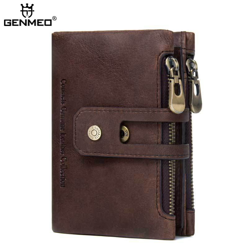 MAIFEINI New Arrival Genuine Leather Wallets Men Luxury Cow Leather Coin PurseReal Leather Clutch Money Bag new arrival men wallets 100
