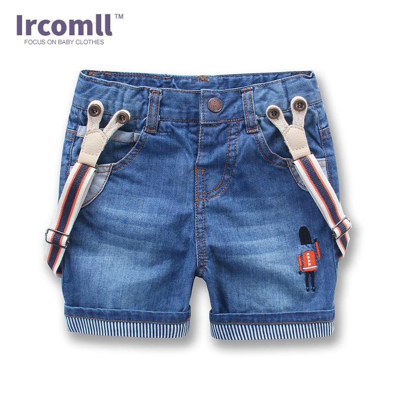 Нови детски деним къси панталони Летни стил Корейски момчета Детски дънки Панталони за кърлинг Бебешки деним гащеризон Закачалки къси панталони 2T-8T