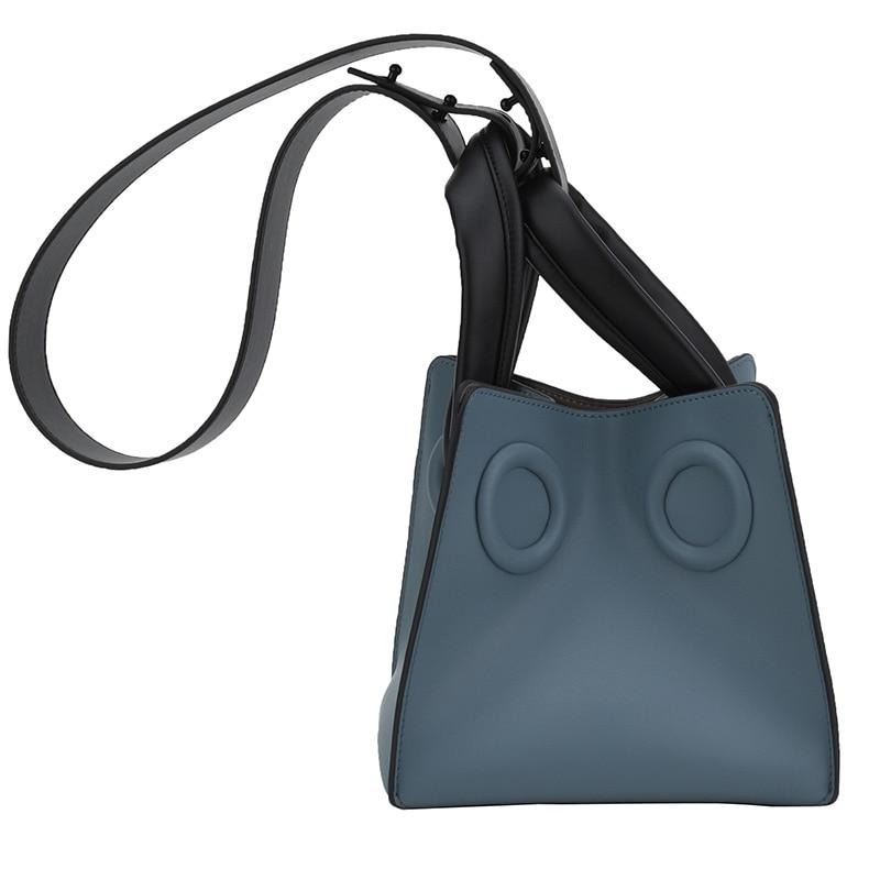 2018 fashion personality Korean tide leather hit color square box bucket bag leather shoulder bag handbag small genuine цена