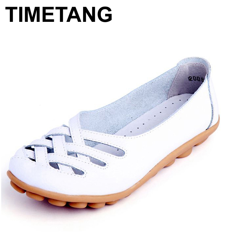 TIMETANG Mama summer  genuine leather women shoes lady flats woman sandals female ballet dance shoes woman loafers moccasins