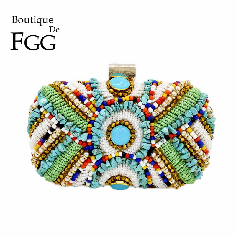 Boutique De FGG Vintage Bohemian Women Gold Clutch Purses Beaded Bag Evening Bag Wedding Handbag Party Bolsos De Fiesta Mujer(China)