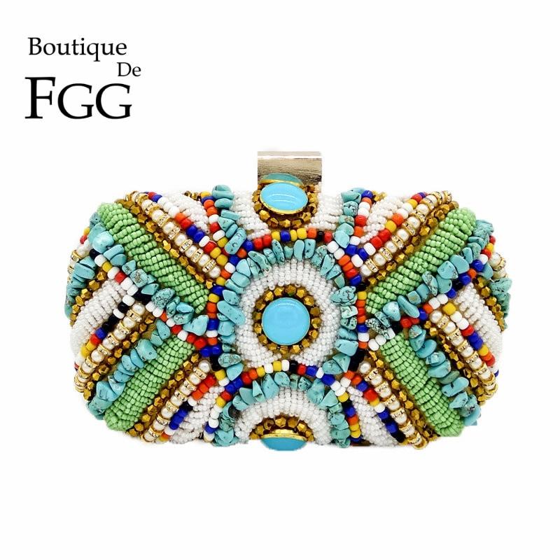 Vintage Bunte Perlen Steine Patchwork Frauen Gold Abendtasche - Handtaschen