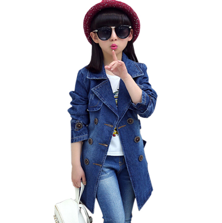 Spring Denim Jacket Girls Fashion Double-Breasted Jeans Outerwear Kids Trench Coat for Baby Girl Coats Jackets Children Clothing