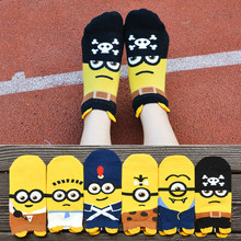 hot deal buy new hot-sell women cartoon socks autumn-winter little minions cartoon sock fashion women's and lady colorful striped funny socks