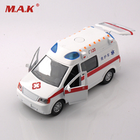 Collectible Alloy Diecast White Car Model 1 32 Ambulance Medical Vehicles W Light Sound Pull Back
