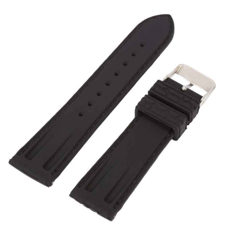 *Silicone Rubber Strap Watch Crocodile Pattern Brown Black 20 22mm Durable Watchbands Men's Women's Watch Accessories*