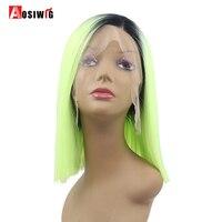 Aosiwig Dantel Ön Peruk Kısa Düz Saç Ombre Siyah Apple yeşil Bob Tarzı Peruk Sentetik Saç Isıya Dayanıklı Siyah Için kadınlar