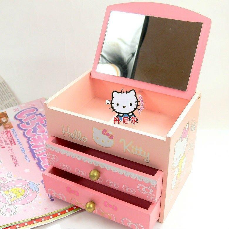 free shipping hello kitty case wooden jewel boxes princess. Black Bedroom Furniture Sets. Home Design Ideas