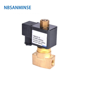 NBSANMINSE CKD Type Two way two position brass solenoid valve AC220V DC24V DC12V Direct Acting 0-1.6mpa AB42-02-10 Normally Open g1 1 2 2l us series solenoid valve steam type two position two way 2l300 40