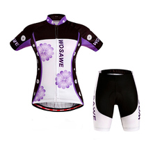 WOSAWE Brand Summer Women Man Cycling MTB Short Sleeves Jersey Bike Bicycle Sets Shirts Padded Cycling Short Wear Uniforms