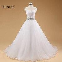 Vestido De noiva 2017 הגעה לניו שמלות כלה אפליקציות תחרה לבן ארוך שמלות הכלה מתוקה Robe Mariage x30215
