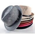Мода весеннее солнце шляпы для женщин летний пляж Hat мужчин крышки джаза коса вводной роковой панама алмаз femal топпер