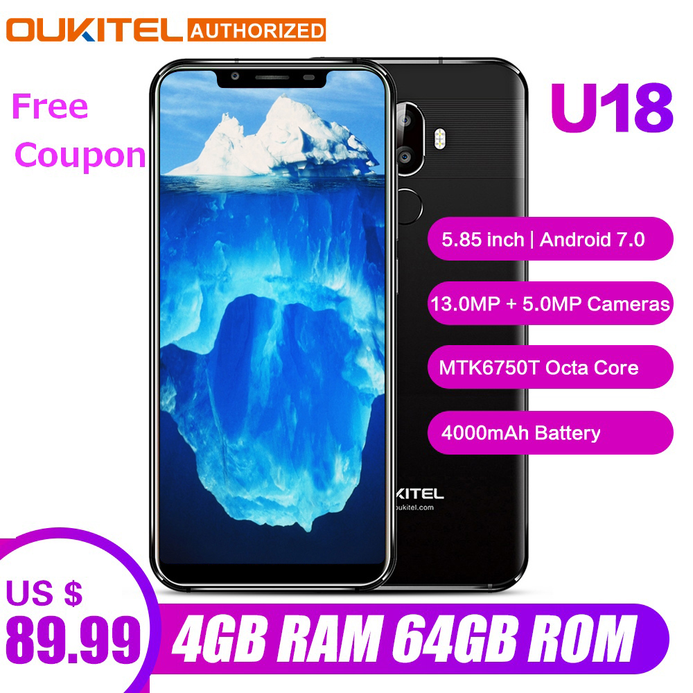 Oukitel U18 Face ID Smartphone 5.85 inch 21:9 Android 7.0 Octa Core 4GB RAM 64GB ROM 4000mAh 16MP+13MP 4G Mobile Phone