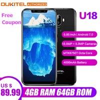 OUKITEL U18 Face ID смартфон 5,85 дюймов 21:9 Android 7,0 Octa Core 4 Гб Оперативная память 64 Гб Встроенная память 4000 мА/ч, 16MP + 13MP 4G, мобильный телефон с функцией